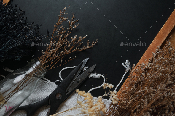Dried flower and tools for craft - Stock Photo - Images