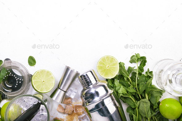 Mojito cocktail alcohol long drink making - Stock Photo - Images