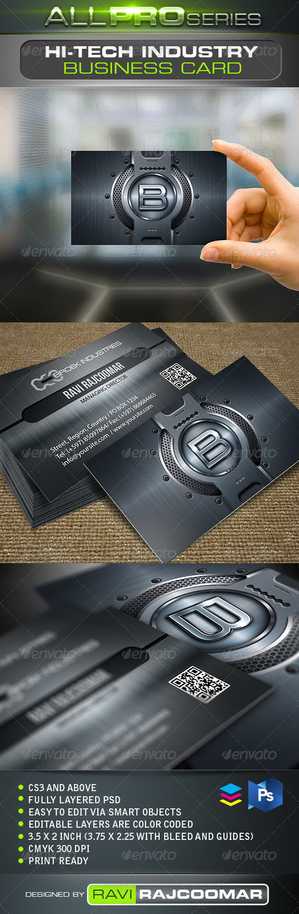 Hi-Tech Industry Business Card - Business Cards Print Templates