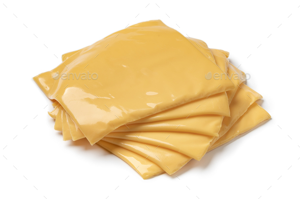Heap of slices cheddar cheese close up - Stock Photo - Images