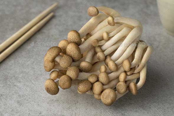 Fresh brow shimeji mushrooms close up - Stock Photo - Images
