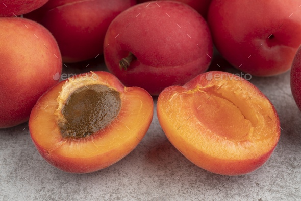 Half red velvet apricot close up - Stock Photo - Images