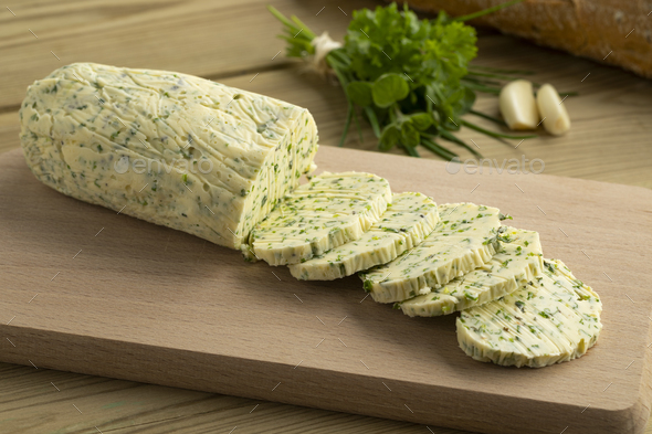 Siced herb butter close up - Stock Photo - Images