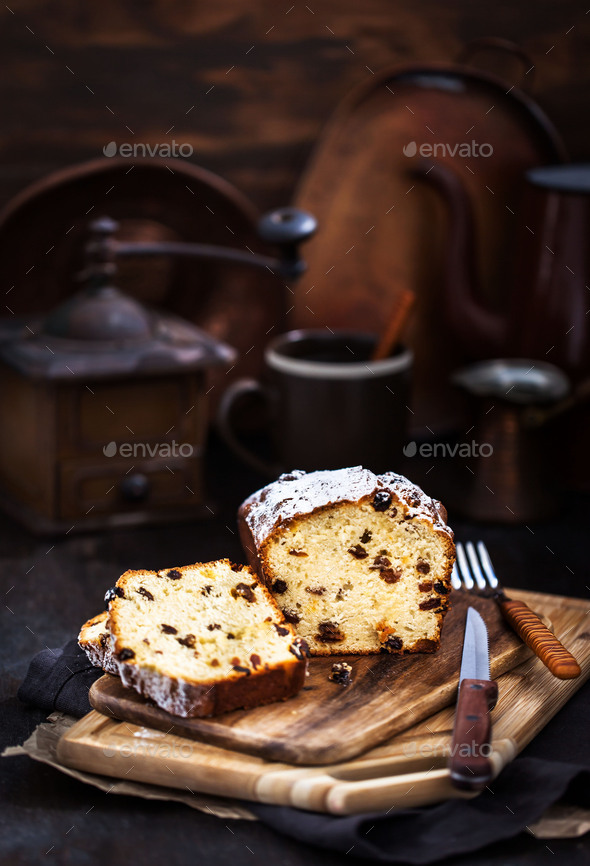 Cottage cheese and raisins loaf cake - Stock Photo - Images