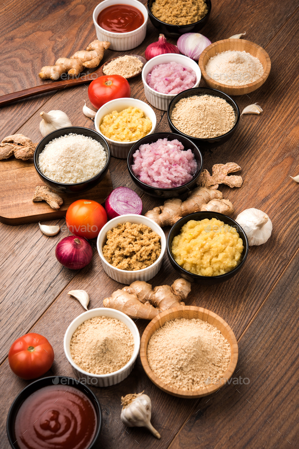 Fresh Ginger, Garlic, Onion and Tomato Puree - Stock Photo - Images