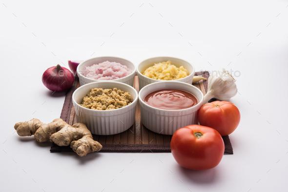 Ginger Garlic Onion Tomato Puree - Stock Photo - Images