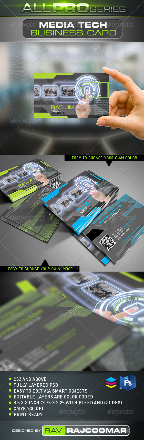 Media Tech Business Card - Business Cards Print Templates