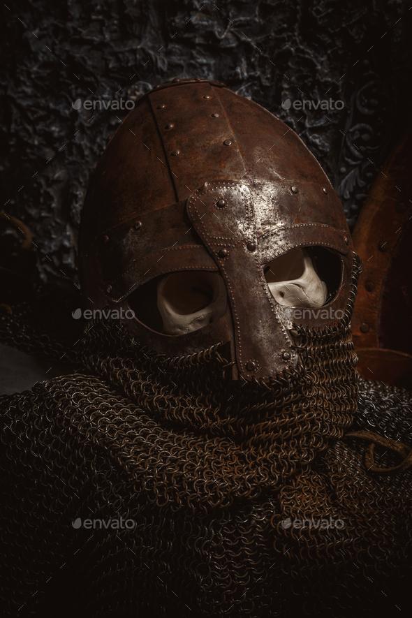 Man's skull in the helmet - Stock Photo - Images