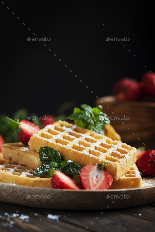 Homemade sweet waffle - Stock Photo - Images