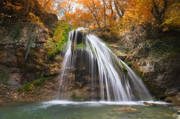 Spring waterfall and. Nature composition. - Stock Photo - Images