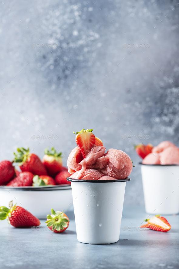 Summer strawberry ice cream - Stock Photo - Images