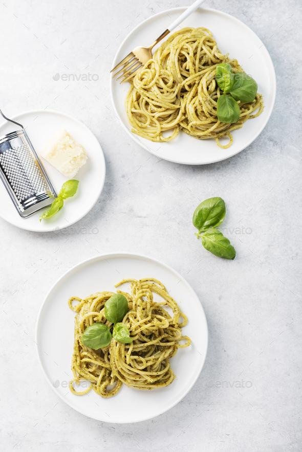 spaghetti with pesto sause - Stock Photo - Images