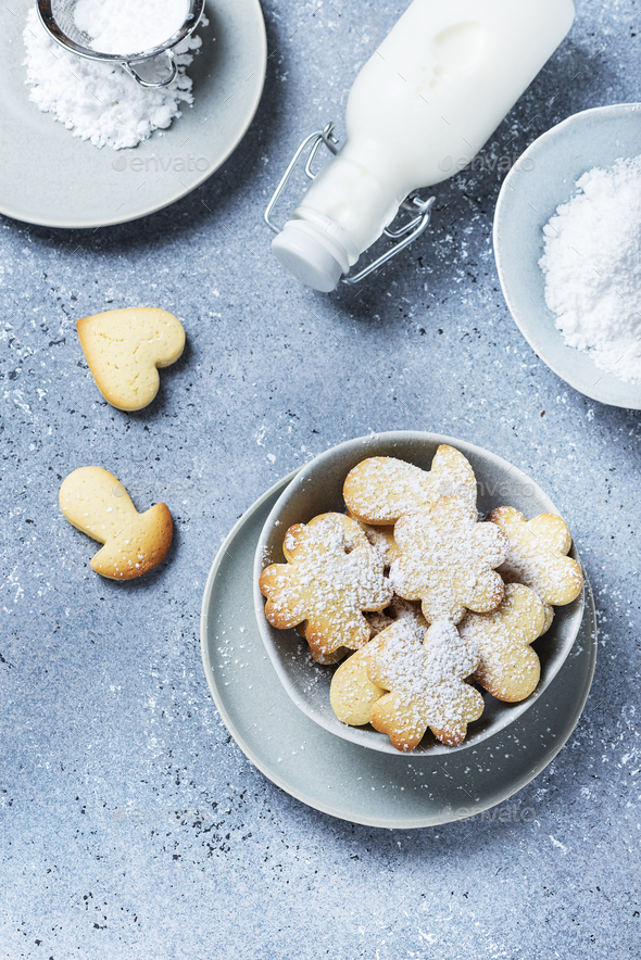 Homemade cookie with powdered sugar - Stock Photo - Images