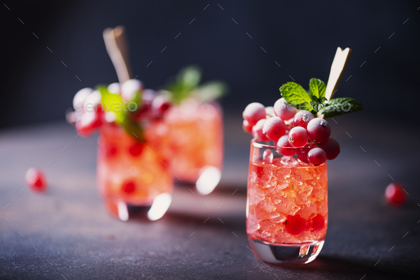 Alcoholic shot with currant - Stock Photo - Images