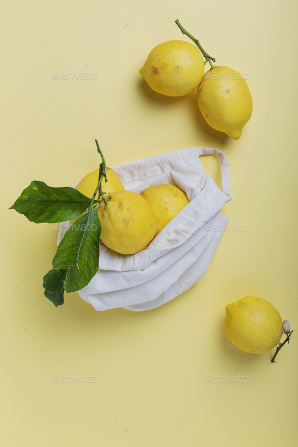 biological lemons with green leave - Stock Photo - Images