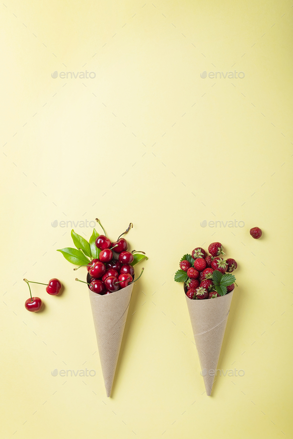 Strawberry and cherry - Stock Photo - Images