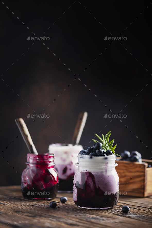 Sweet healthy yogurt with blueberry - Stock Photo - Images