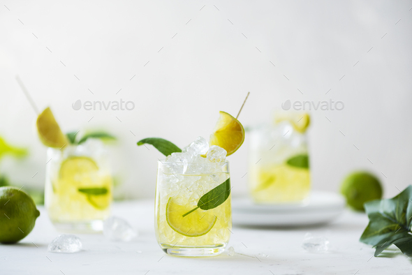 Summer cocktail with sage and lime - Stock Photo - Images