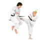 Cute blonde girl and a young cheeky guy karate - PhotoDune Item for Sale