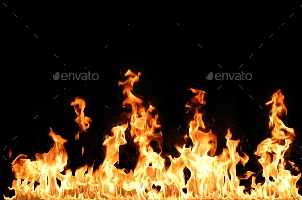 Tongues of flame on black background - Stock Photo - Images