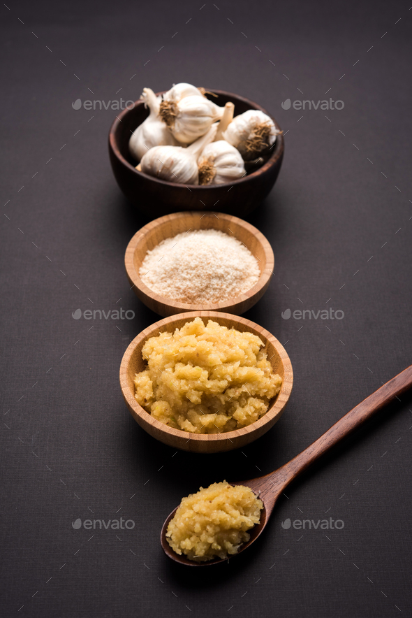 Garlic Paste and Powder - Stock Photo - Images
