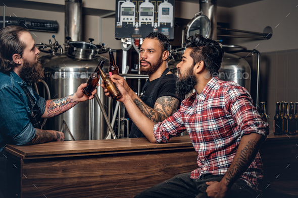 Stylishthree men men drinking craft beer in the microbrewery. - Stock Photo - Images