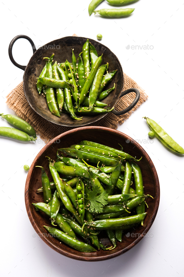 Spicy Green Peas Fry - Stock Photo - Images