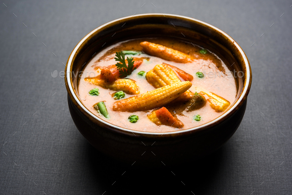 Baby Corn Masala - Stock Photo - Images