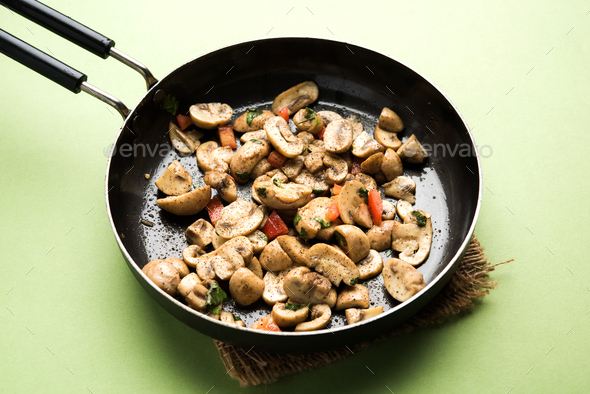 Mushroom Pepper Fry - Stock Photo - Images