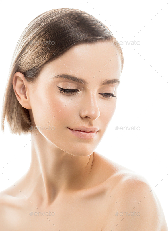 Short Hair Female natural Beauty Woman Healthy Skin - Stock Photo - Images