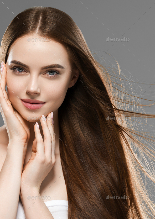 Brunette smooth healthy hair woman clean skin portrait - Stock Photo - Images