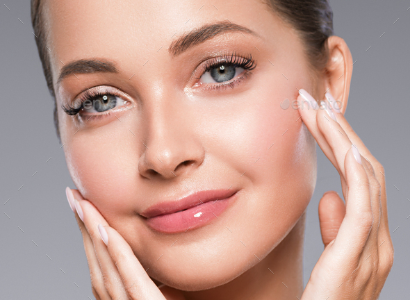 Beautiful eyes and lips healthy clean skin woman portrait close up - Stock Photo - Images