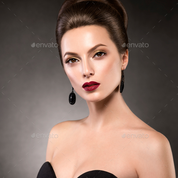 Beautiful glamour hairstyle woman beauty hair fashion makeup red lipstick - Stock Photo - Images
