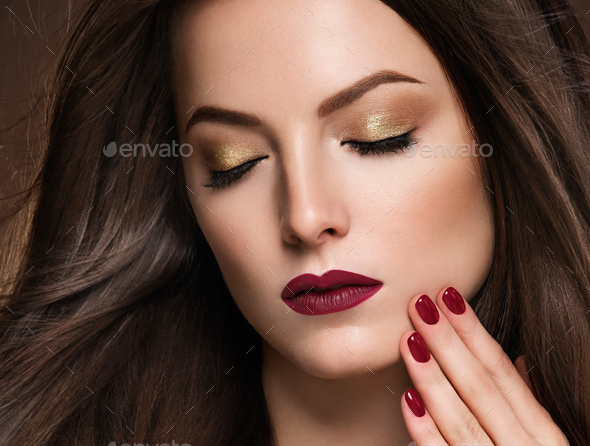 Red lipstick glamour fashion make up woman face - Stock Photo - Images