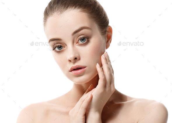 Healthy skin and hair woman natural make up healthy beauty - Stock Photo - Images