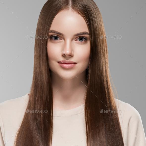 Beautiful hair women brunette long hair beauty hairstyle female portrait healthy skin - Stock Photo - Images