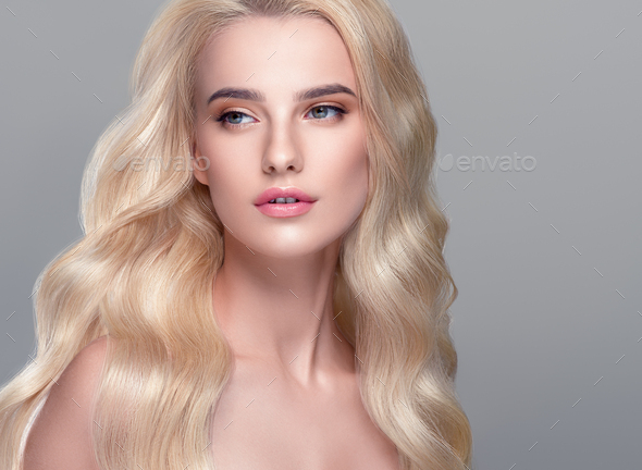 Long blonde hair beauty model woman natural make up - Stock Photo - Images