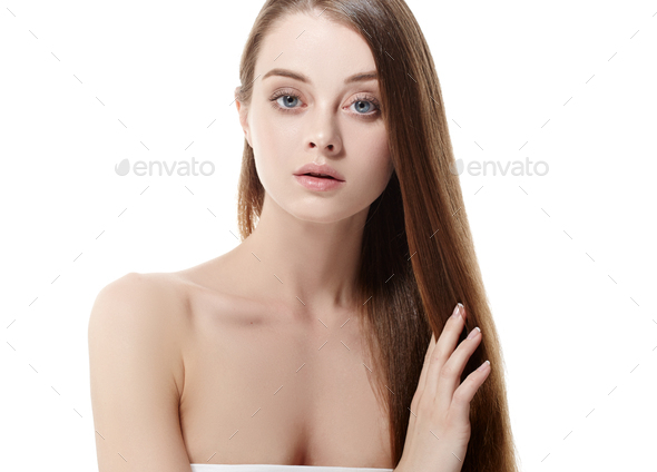 Healthy skin and hair woman natural make up healthy beauty - Stock Photo - Images