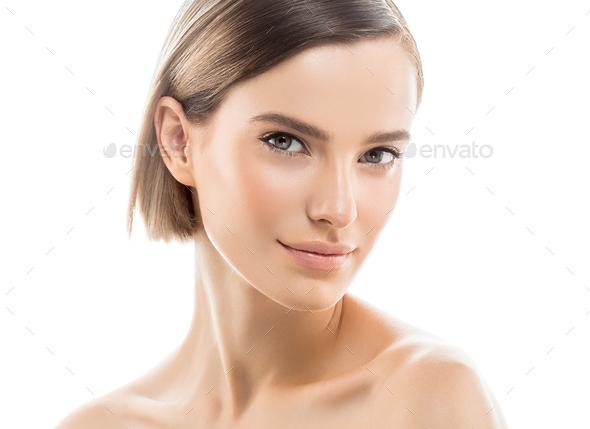 Female Healthy Skin Woman Beauty Face Short Hair Portrait - Stock Photo - Images