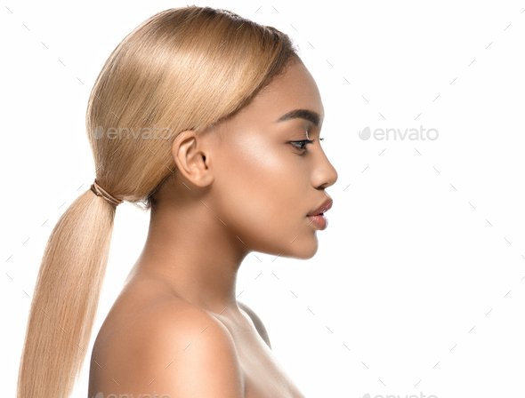 Beauty afro american female beautiful skincare - Stock Photo - Images