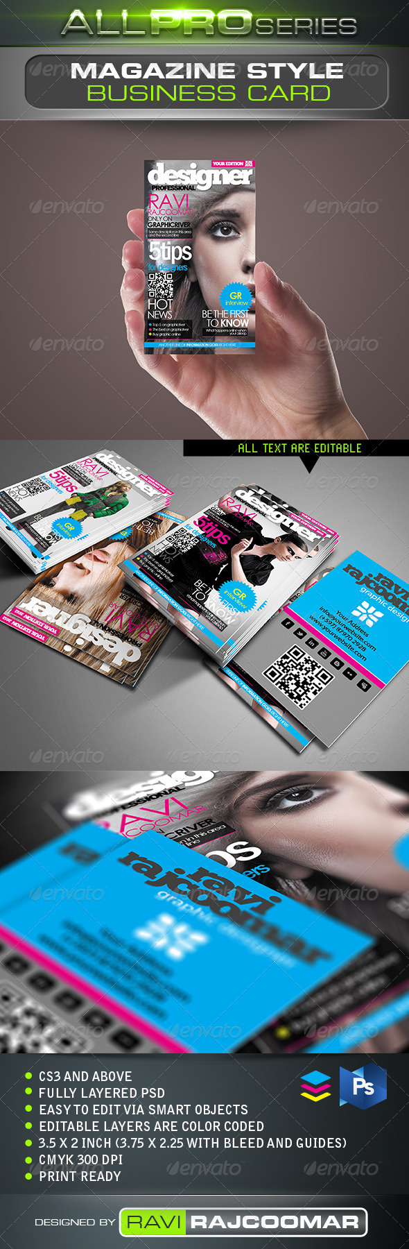 Magazine Style Business Card - Business Cards Print Templates