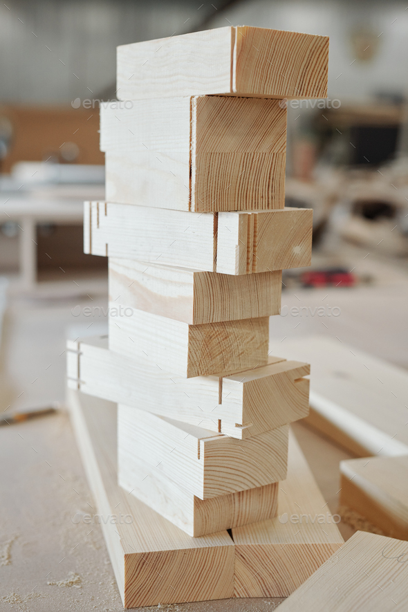 Stack of wooden brick workpieces ready to be used in production of furniture - Stock Photo - Images