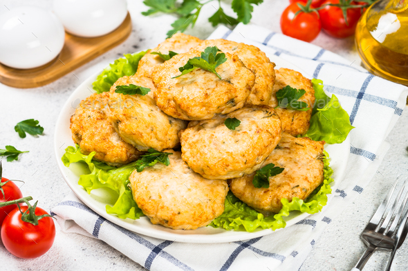Chicken cutlet in the plate - Stock Photo - Images
