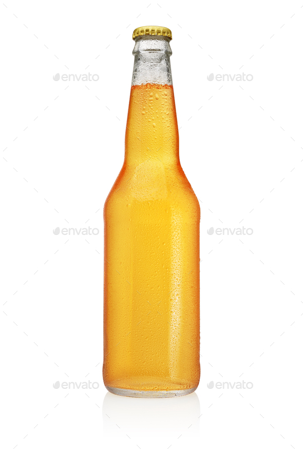 Longneck Beer bottle with water drops isolated on white background. - Stock Photo - Images