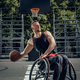 Cripple basketball player in wheelchair plays basketball. - PhotoDune Item for Sale