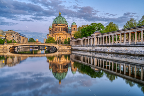 The Berlin Cathedral at dusk - Stock Photo - Images