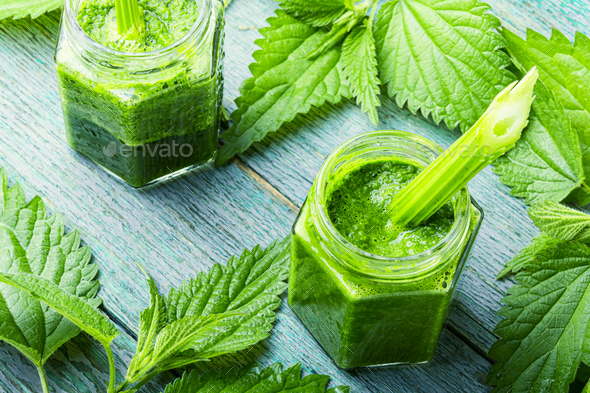 Nettle leaf smoothie. - Stock Photo - Images