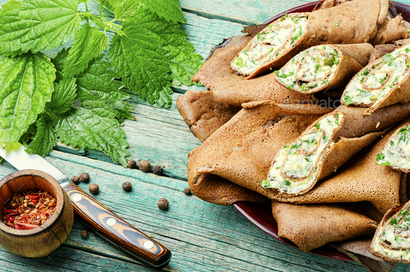 Delicious liver pancakes. - Stock Photo - Images