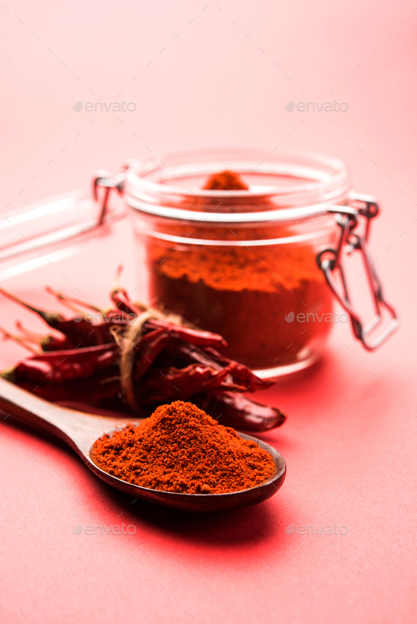 Red Chilli With Powder - Stock Photo - Images