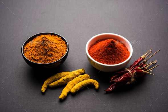 Turmeric and Chilli Powder - Stock Photo - Images